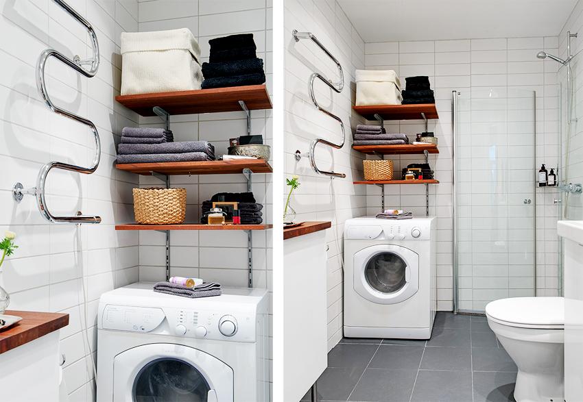 卫浴干湿分离,仿古的小瓷砖非常好看,墙上做了最好的卫浴收纳。