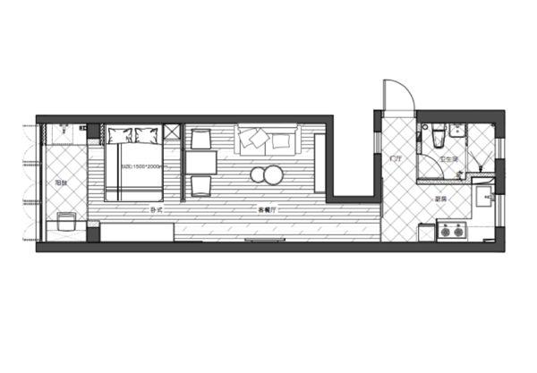 入户门开在了侧边,让这套单身公寓的厨房能够和客厅、卧室分开,避免了大部分长条形单身公寓的油烟问题。