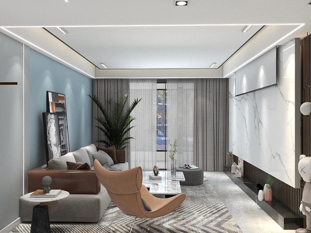 温馨的色系布局体现客厅的气势,大面积蓝色调呈现出时代的时尚气质。