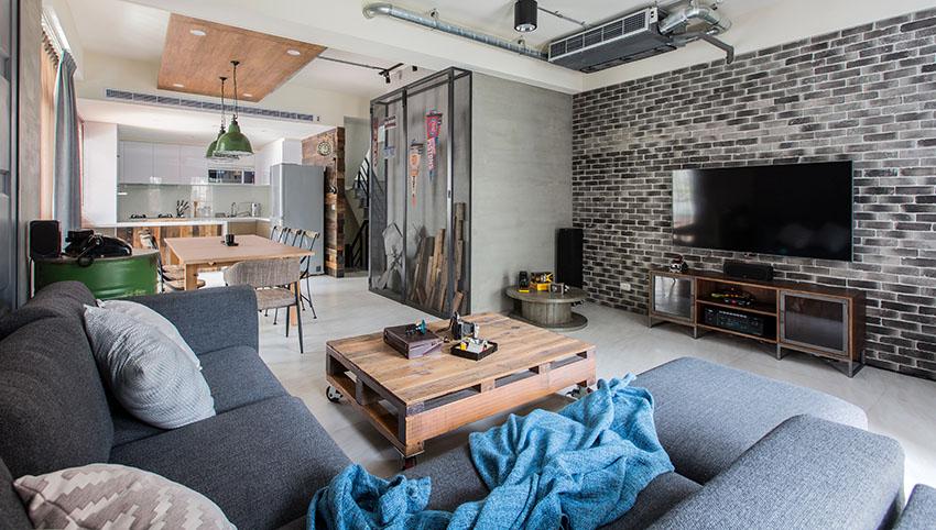客厅简约风格整个以咖色与黑色为主装饰,整个营造了宁静中的自然舒适之感