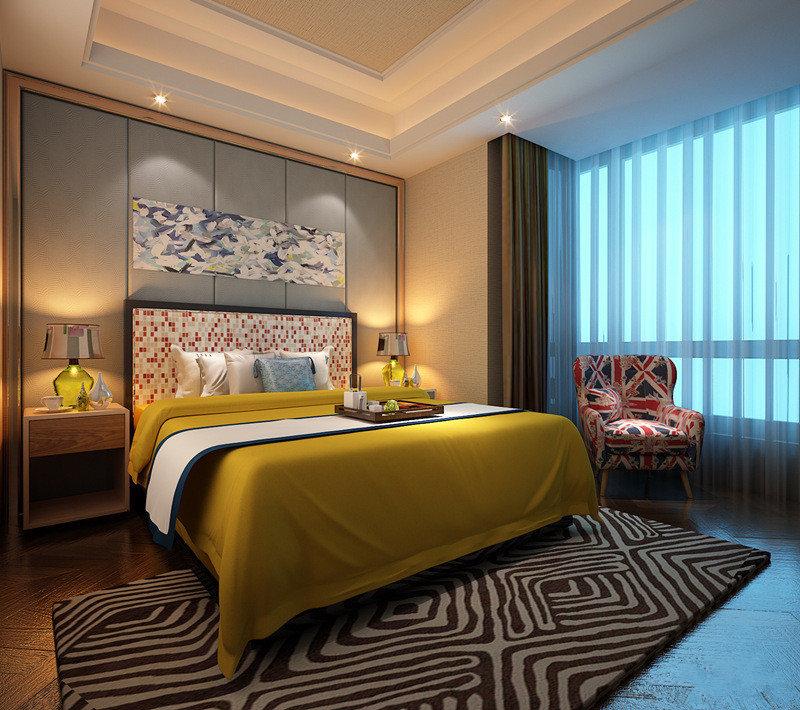 卧室空间很大,设计师在空间上大胆的使用色彩,使从床头到地面上,都充满着一种碰撞对比又非常和谐的时髦感