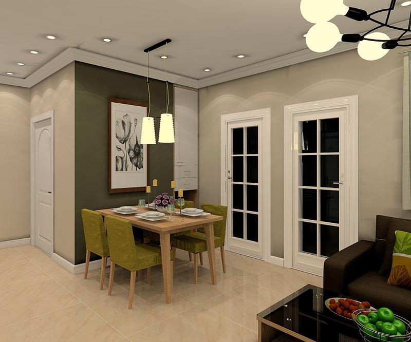 客餐厅空间非常巧妙的利用不同颜色的墙面,区分空间功能性;草绿色餐椅与灰绿色墙面搭配得体。