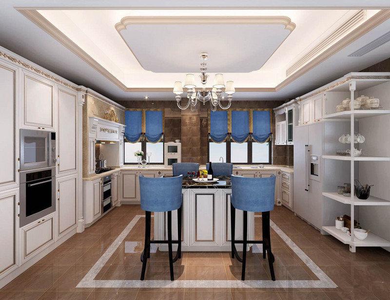 厨房吊顶现代凝练,搭配褐色砖石,构成浓淡和层次,但是橱柜的设计整体以欧式和法式为主,突出表现了古典美