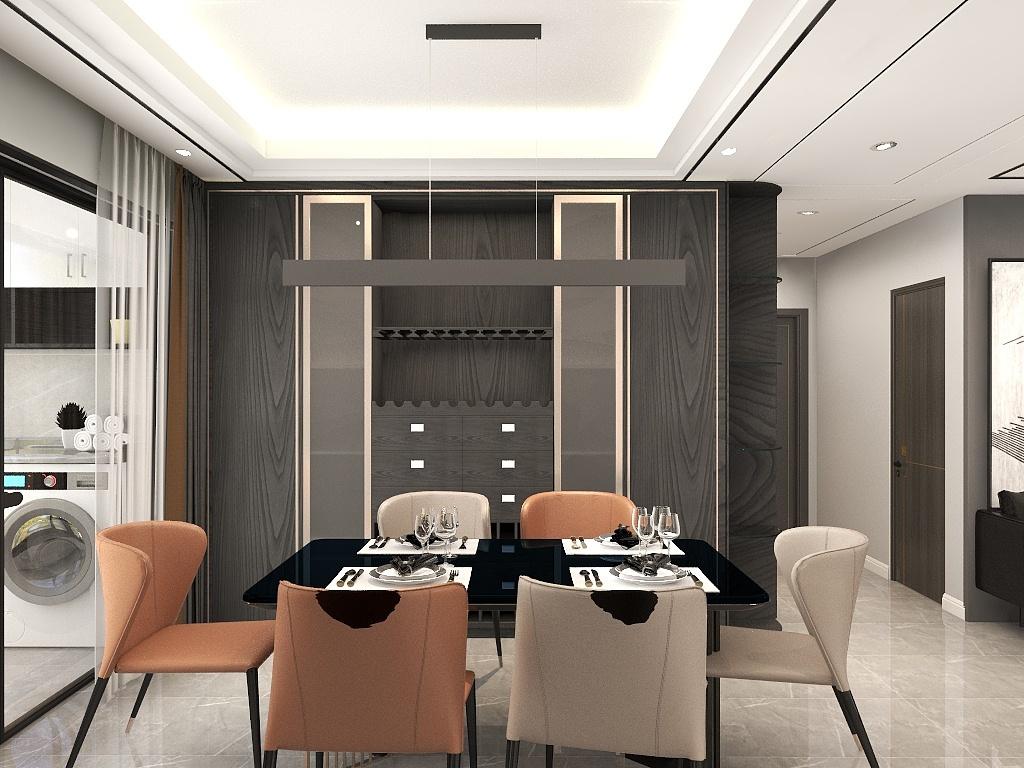 餐边柜背景墙采用木饰面打造,让空间更显温润与柔和,皮质餐椅中和了颜色的色调。