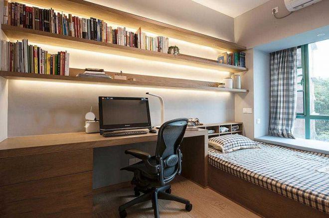 大面积组合书架的设计,可以用来当书房,也可以用作卧室,都非常方便。