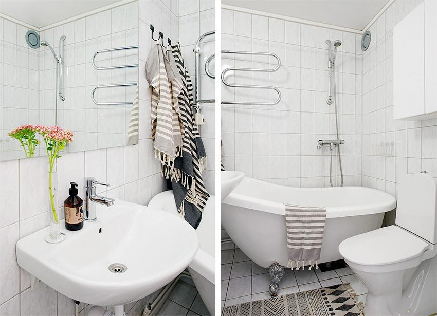卫生间,面积虽然不大但背景是以白色为主,从视觉上看起来会大一些。