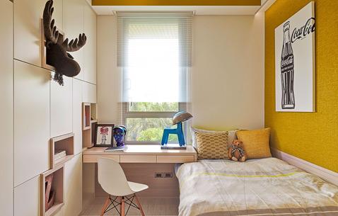 颜色上恰到好处的点缀与呼应,让整个儿童房活力而不会过于浮躁。