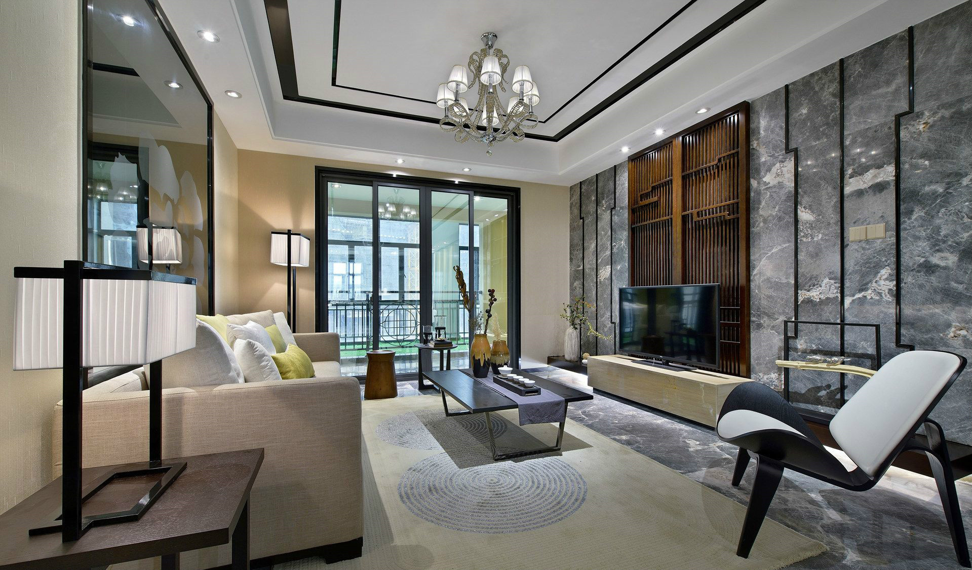 客厅衬托舒适的布艺沙发与禅意的抱枕,整个空间都给人以舒适情趣的感觉