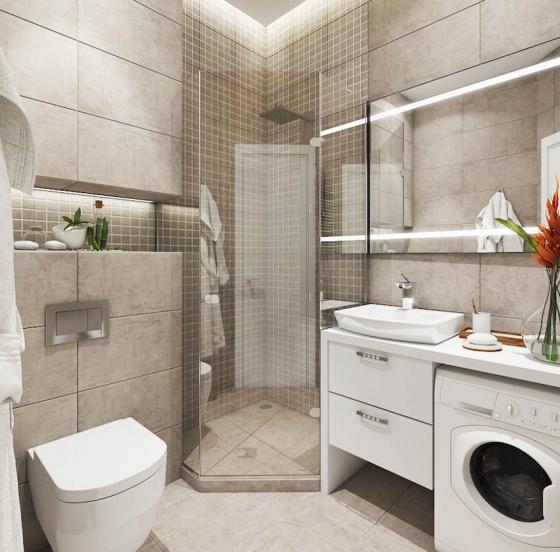 不规则的浴室设计满足了全部功能。