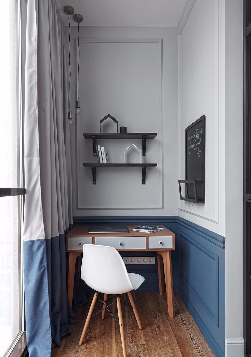 厨房边宽度一米多的小空间,布置成迷你工作间。