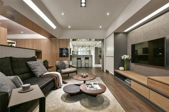 利用双面斜板衔接手法,来解决客厅梁低的问题,由此可见马恺君设计师的用心与细心。