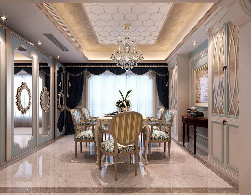 收纳柜对称之余,与收纳墙的镜面门让空间多了立体,法式田园风的木椅搭配白色木桌,惬意之余,更为清幽。