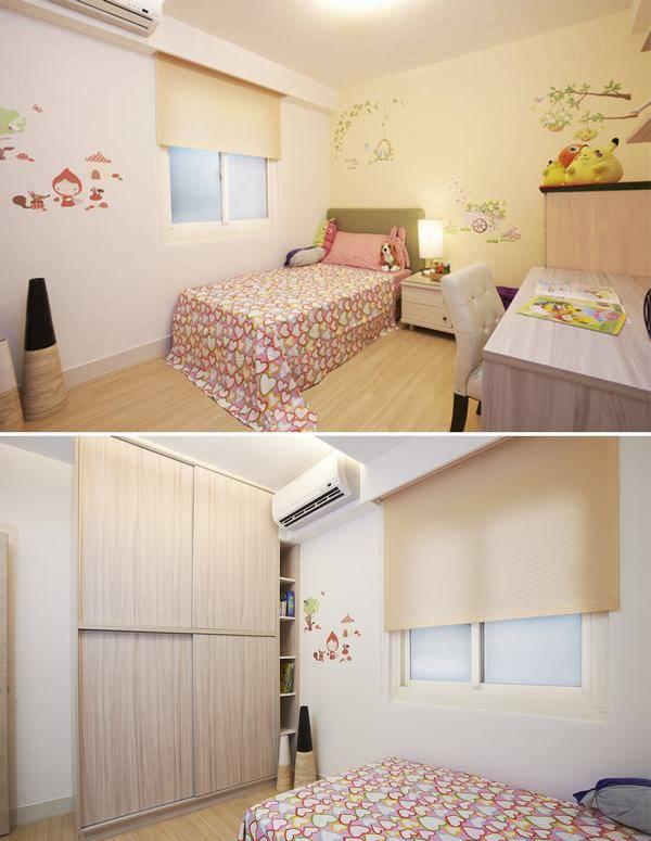 女孩房规划了上下双层的吊衣柜空间,并理由难过梁下空间作为书架位置。