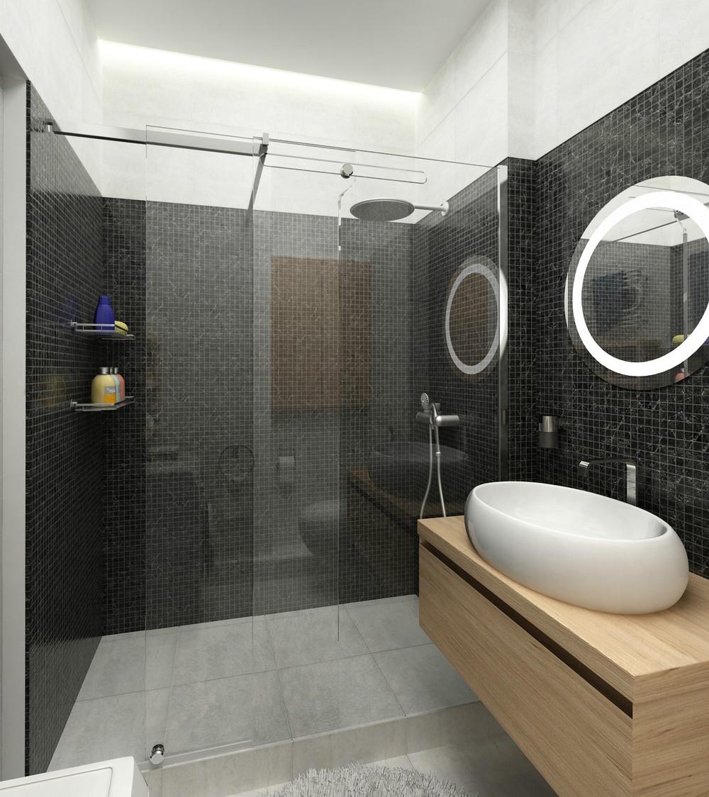 卫生间整体看上去显得很有档次,墙面黑格的美观度,干湿分离,干净简约。
