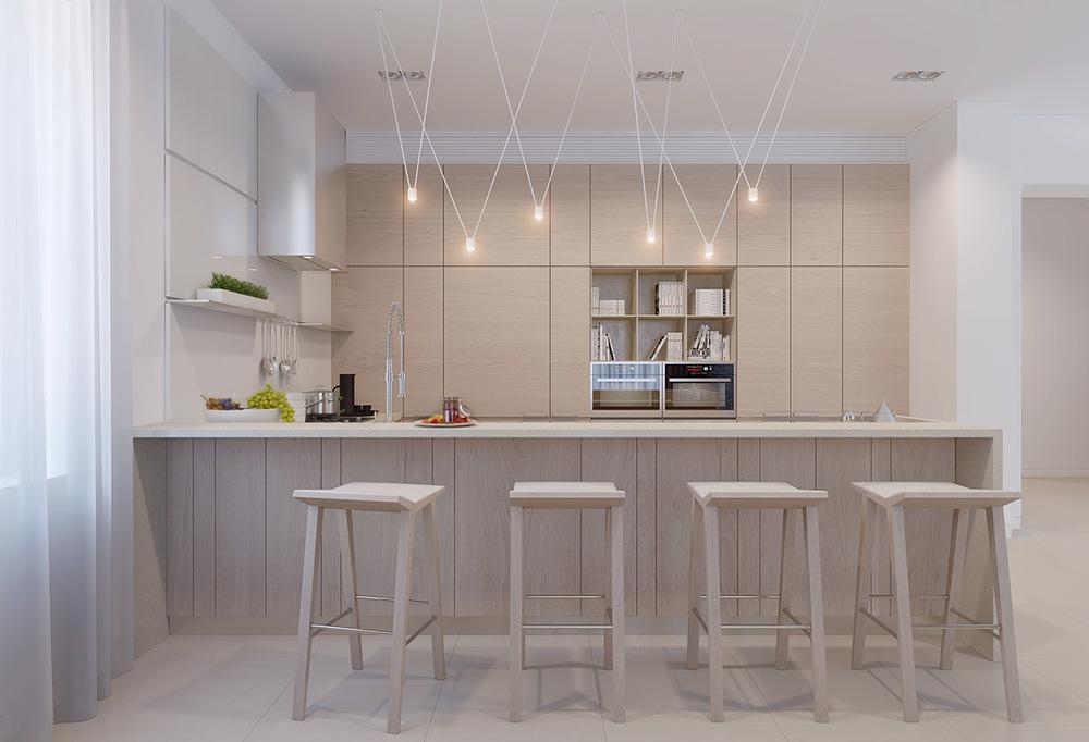 餐厅精致的小吊灯突出整个厨房的别致,已经清雅