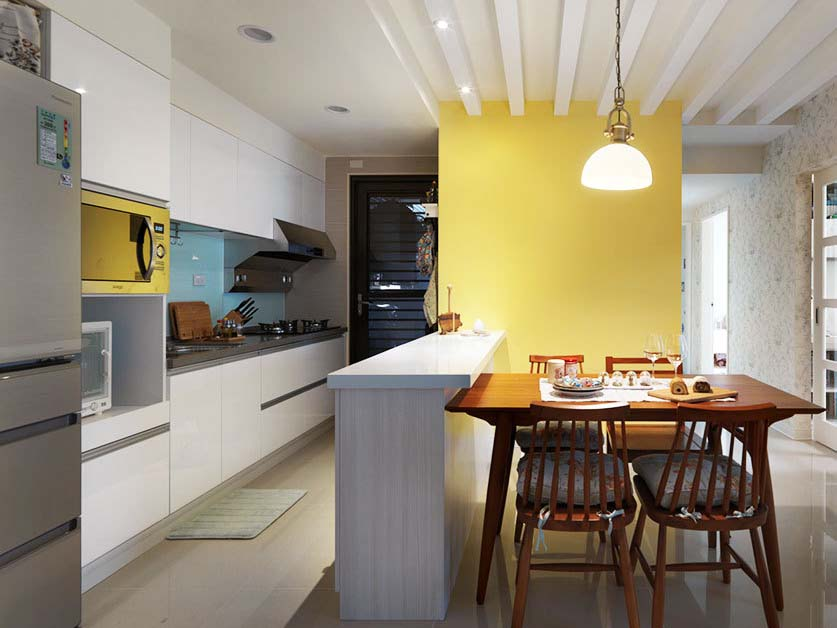 开放式厨房,一个小吧台起到隔断作用,一点点的点缀也是极好的。
