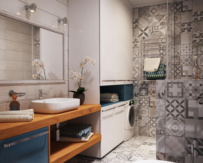 卫生间几何形的小花砖,洗手台的款式简约而又好看,让整个卫生间立刻就脱颖而出了。