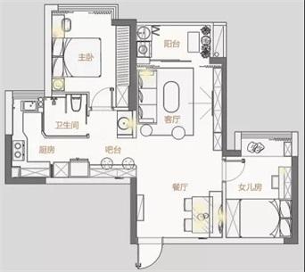 戶型整体格局端正通透,功能布局完善,卧室面積利用合理,居住舒适度高。