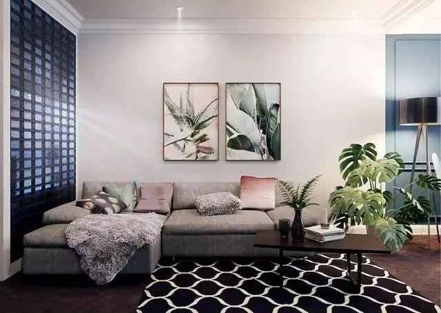 开放展示柜,搭配龟背竹花卉,调和出惬意、自然的生活态度。