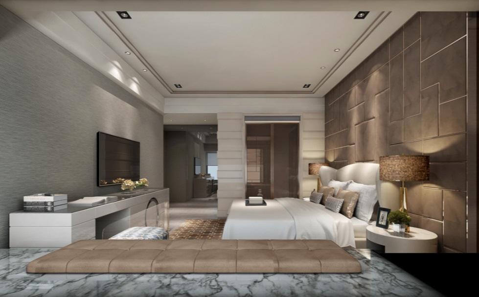床头背景墙设计雅致大气,床品色感成为空间点缀,及其富有中式韵味。