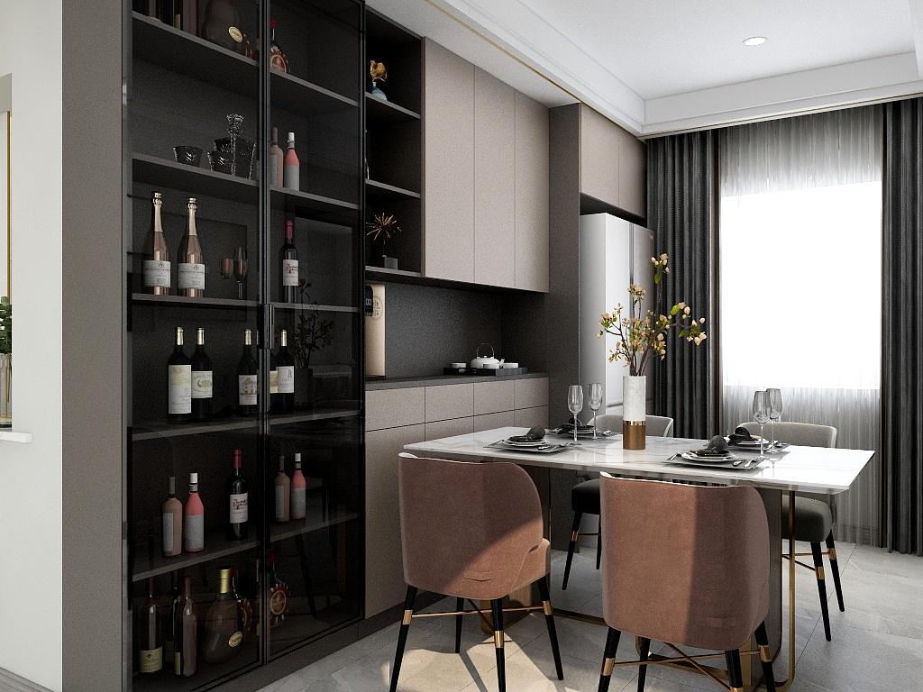 餐边柜与酒柜组合储物柜面,增添了生活品味,白色餐桌搭配暖色餐椅,打造轻松惬意的餐厅氛围。