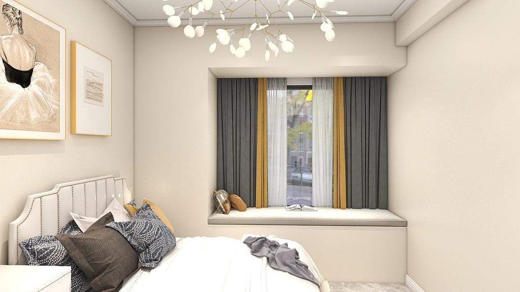 在这个小小的空间里,设计师对飘窗进行了设计,放对于小卧室的装修有非常大的借鉴意义。