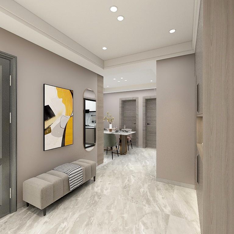 玄關面積寬敞,條形沙發使用頻率高,米色背景溫潤雅致,充滿格調感。