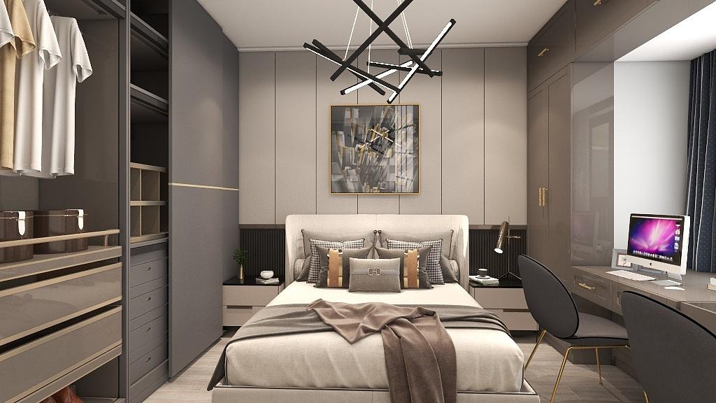 卧室以咖色为主,充满精致之感,再配上集合吊灯的灯光效果,空间里多了一份朦胧的渲染。