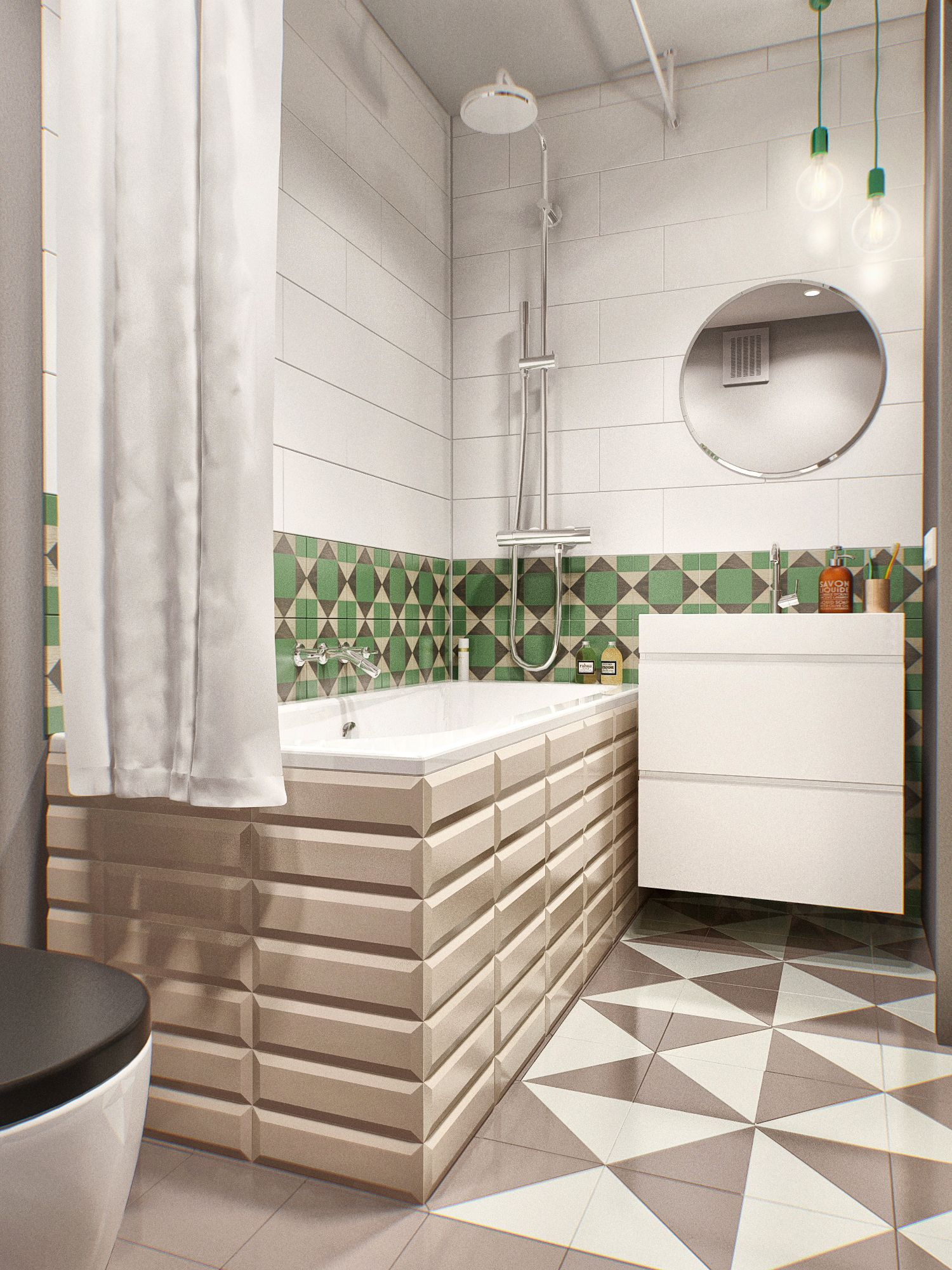 卫生间设计很有创意,瓷砖的铺贴方便主人的擦拭,很好的用帘子做了干湿分离