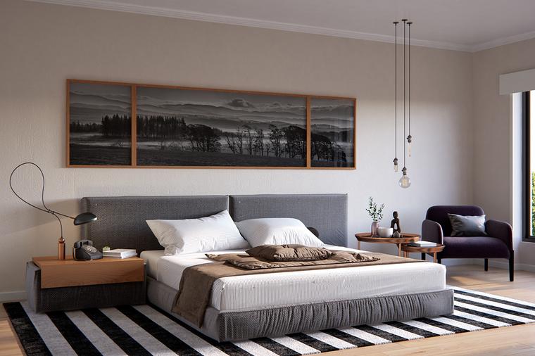 灰黑色调的卧室显得质感沉稳,通过黑白条纹的地毯增添时尚度,复古电话,别致的装饰画。