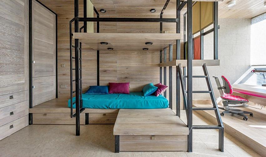 像是将电视墙与厨房结合,不只重新定义区域,更象征着两种建材搭接与合并;双面墙拥有收纳、隔间和分配动线