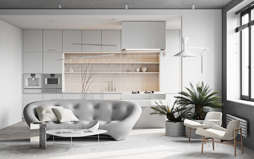 客厅以白色为主机斯奥,厨房与客厅相连,展现出现代风格的自由和随意。