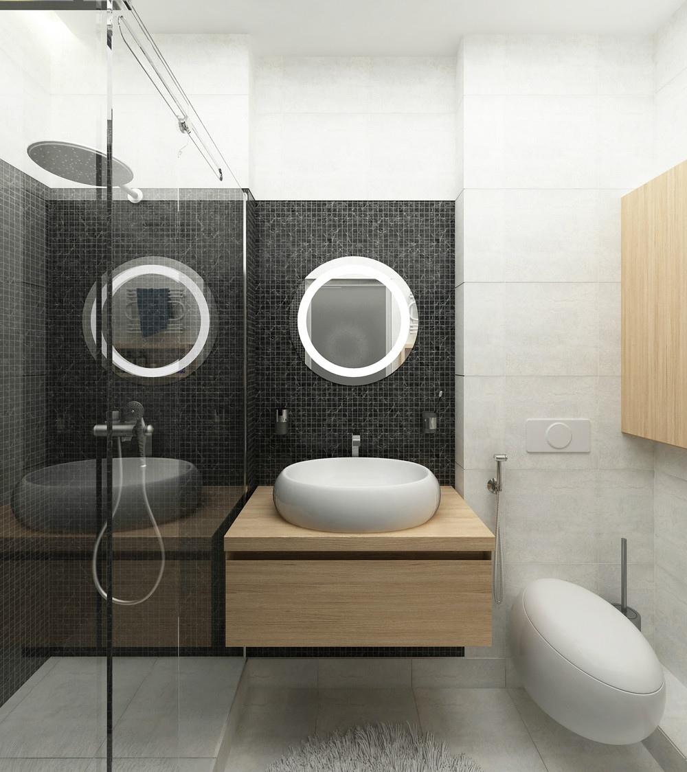 卫生间面积不是很大,以黑白为主,干净又清爽的颜色,显得整体视野开阔