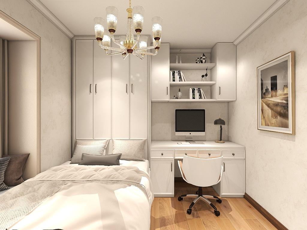 侧卧以白色基调为主,衬托出华丽感,榻榻米、吊柜、写字桌一体化设计,凸显整体性。