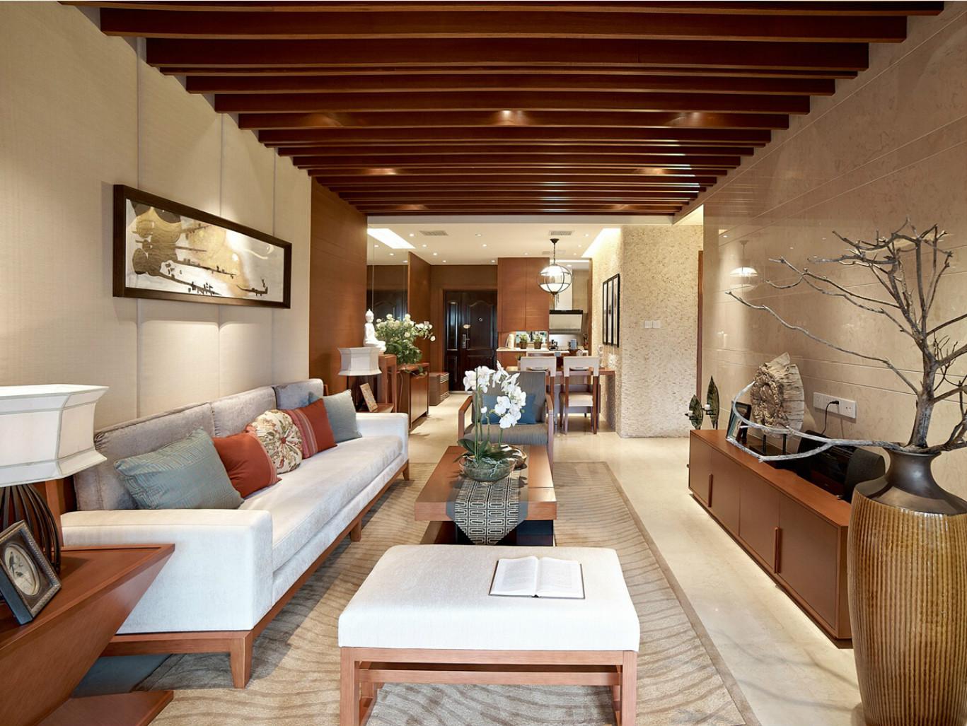 客厅电视柜与收纳柜构成一个完美的背景墙
