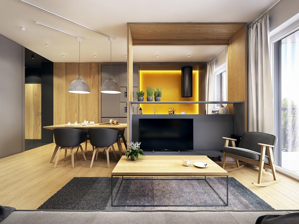 客厅这边放置着清晰线条的灰色布面沙发,充满着简易舒适温馨感。