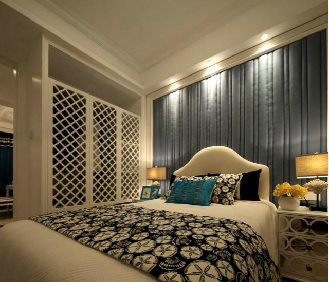 卧室同样采用镂空设计,延续了客厅装修,整体和谐自然。