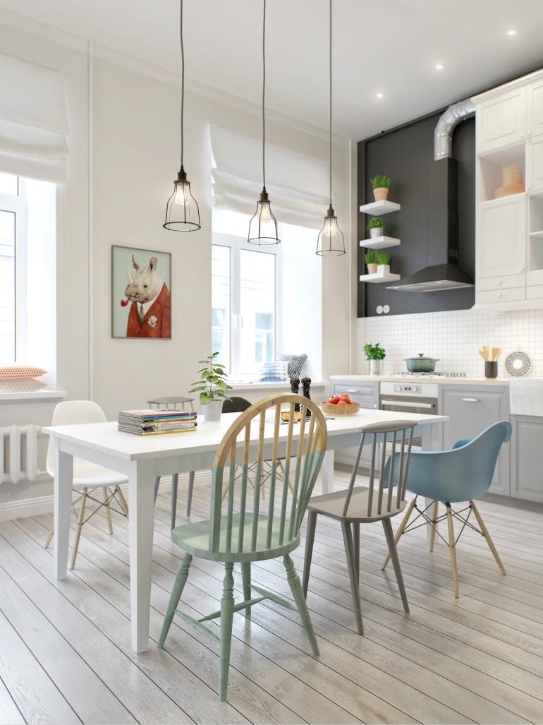厨房的摆放着绿色的植物,让主人更好的有好的心情饮食