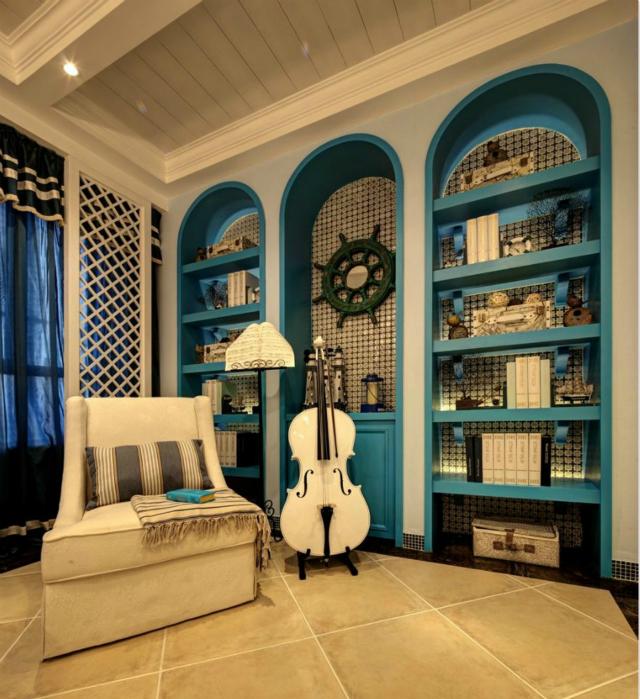 设计师巧妙将墙壁打造成拱形书架,既美观又实用。在此看看书,拉拉琴,美好生活也不过如此。