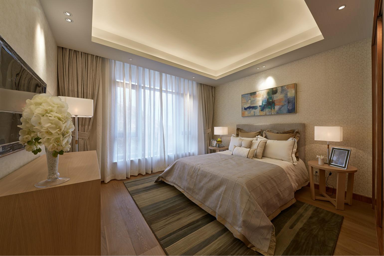 卧室整体设计比较温馨雅致,床头背景墙挂了抽象画的装饰,配上两盏壁灯,很有浪漫的格调。