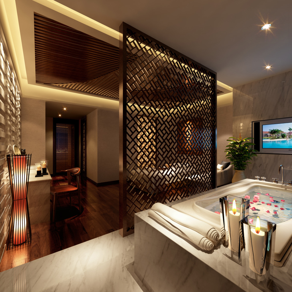 卫生间采用了镂空屏风设计,画卷、蜡烛满满的古香气息,就连台灯也是精心挑选,与整体风格相符合。