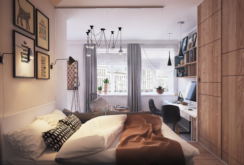 卧室设计时,着重于点,线,面的灵活运用,把整个还平境营造出家的温馨