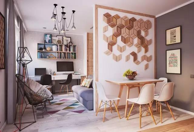 刷白的墙体、混搭的色彩与材质却使这个小家精致。