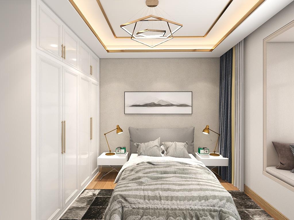 米色背景墙与灰色布艺床头融合,呈现出单纯与美好,台灯对称设计,彰显居家质感。