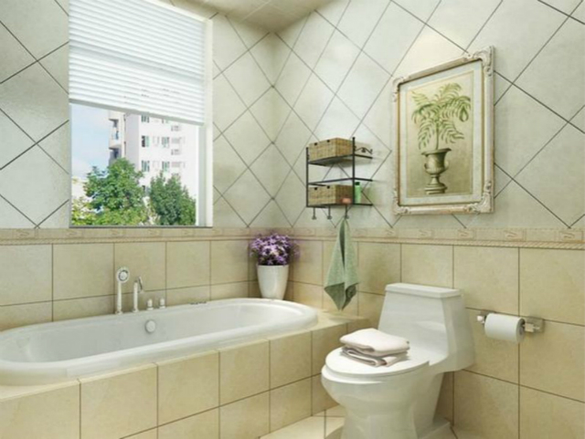卫生间几何图瓷砖的铺设,让空间的沉稳而又不乏新意。