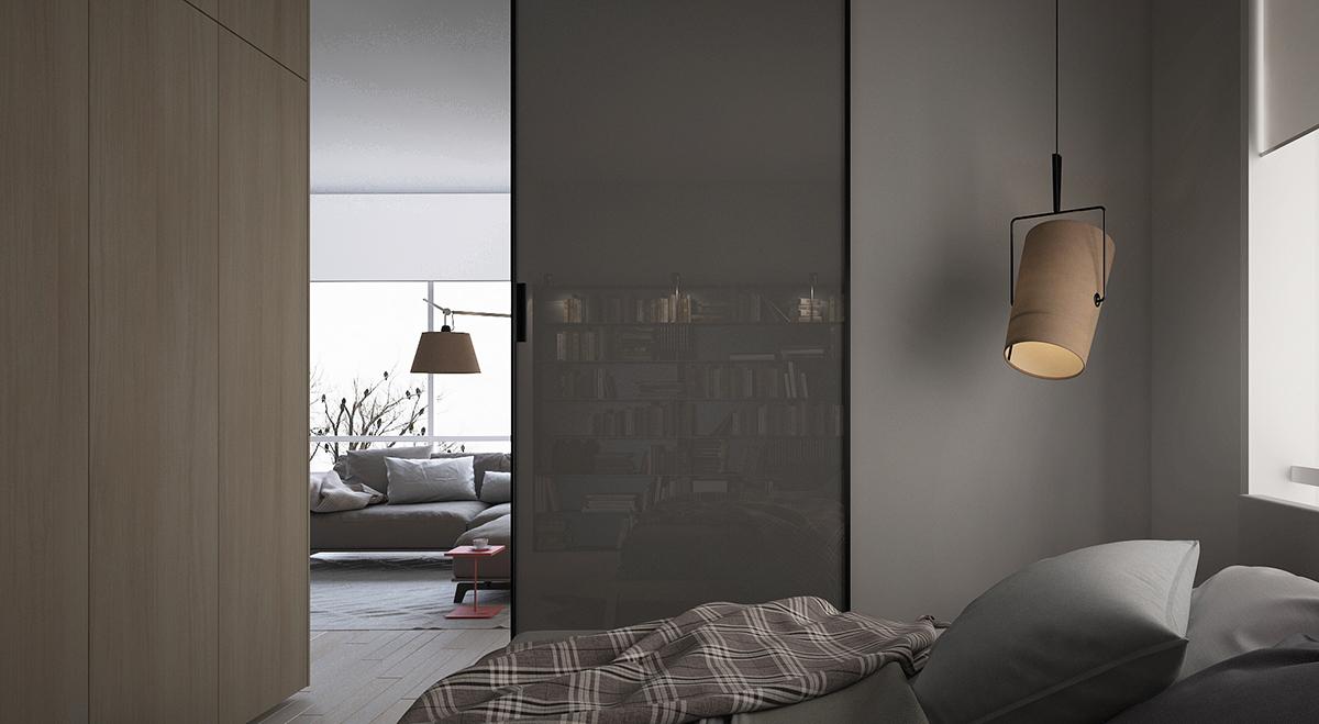 主卧采用黑灰颜色做主色调,装饰了艺术吊灯,整体空间温馨又优雅。