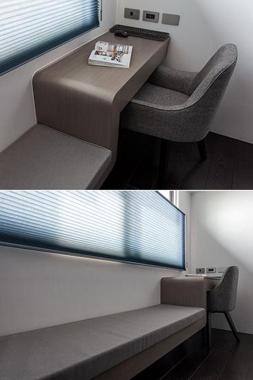用铁件加强结构体与支撑性,完美呈现一体成形的书桌与卧榻。