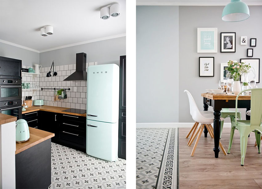 设计师对薄荷绿的运用从客厅延伸至厨房,在黑白灰的衬托下,这样的小清新的色彩显得格外可爱。