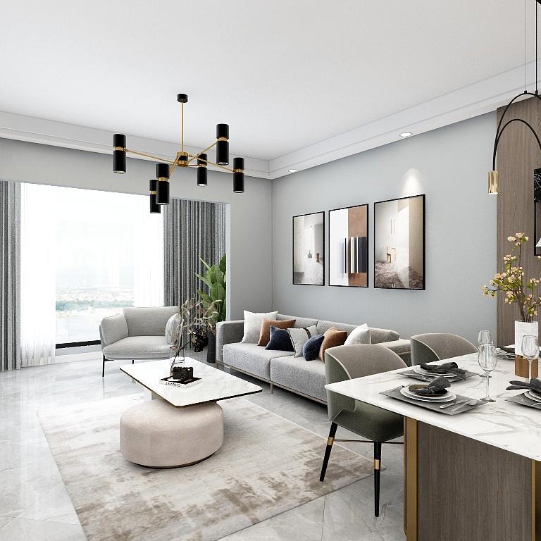 沙發那邊大大的落地窗為空間帶來了一個明亮優雅的采光體驗,布藝沙發在灰色背景中沉靜素雅。