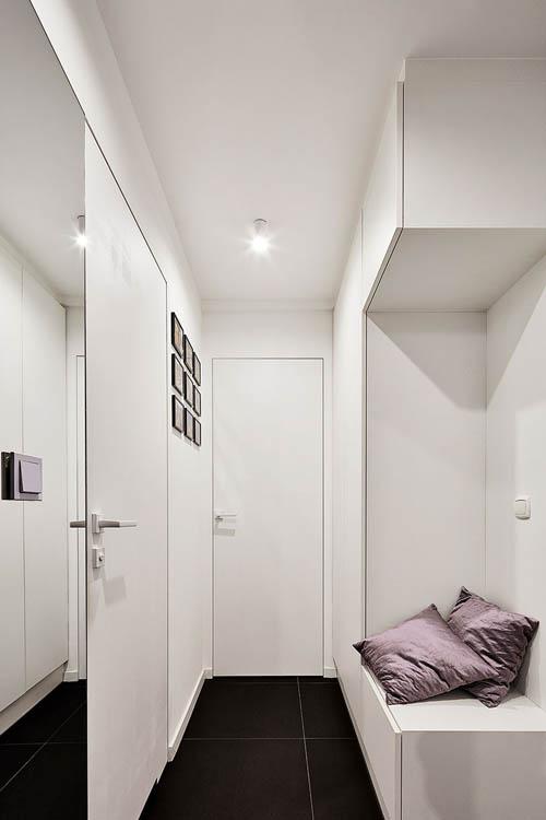 干净的白色入口可以通过客厅的黑色墙壁看到。